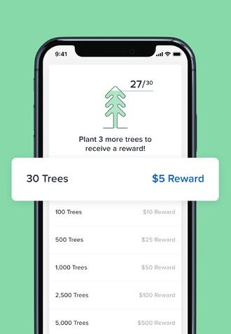 Screenshot of how many trees you have planted an your rewards in Aspiration app